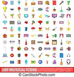 100 musical icons set, cartoon style