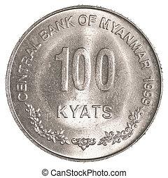 100, (myanmar), burmansk, kyat, mynt