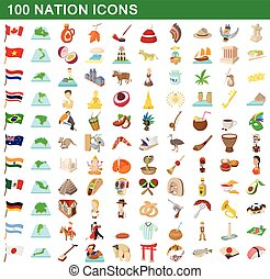 100 nation icons set, cartoon style