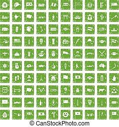 100 national flag icons set grunge green