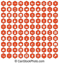 100 national holiday icons hexagon orange - 100 national...