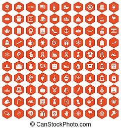 100 national holiday icons hexagon orange - 100 national...