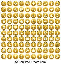 100 national holiday icons set gold - 100 national holiday...
