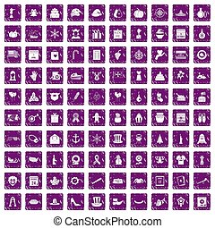 100 national holiday icons set grunge purple - 100 national...