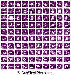 100 national holiday icons set grunge purple - 100 national...