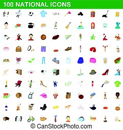 100 national icons set, cartoon style