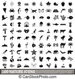 100, natura, icone, set, semplice, stile