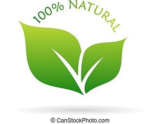100, natural, ícone