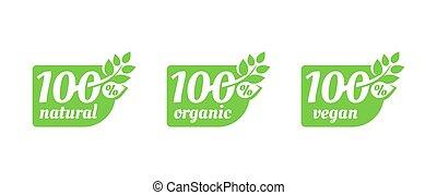 100 natural, 100 organic, 100 vegan tag