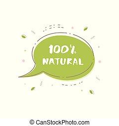 100% Natural banner. Vector illustration.