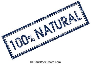 100% natural blue square stamp