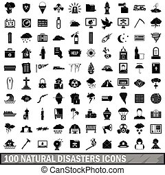 100 natural disasters icons set, simple style