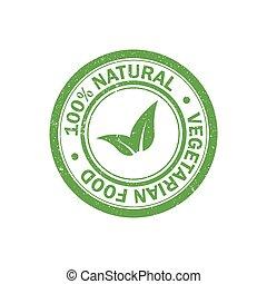 100% natural food rubber grunge stamp. Vegetarian food icon. Vector