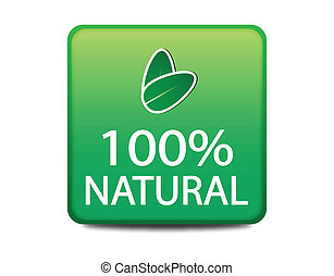 100% Natural green web button