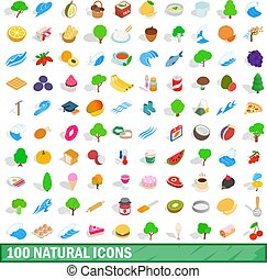 100 natural icons set, isometric 3d style