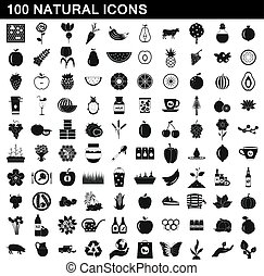 100 natural icons set, simple style