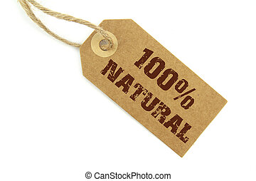 100 Natural label on white background
