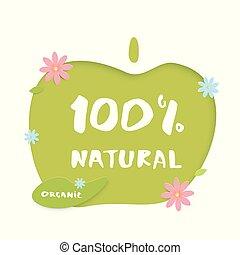 100% Natural paper cut banner. Vector illustration.