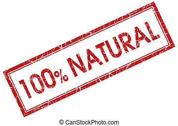 100% natural red square stamp
