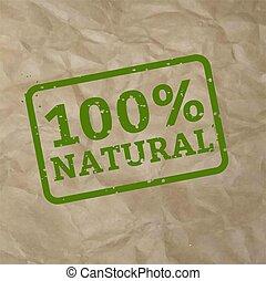 100% Natural Stamp Sign Cardboard