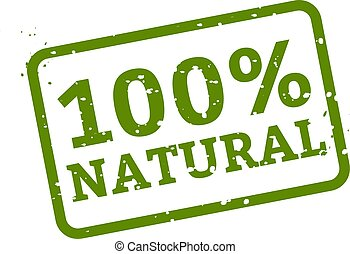 100% Natural Stamp Sign White Background