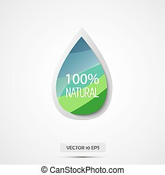 100 natural. Vector illustration. Blue and green water drop.