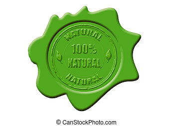 Wax seal with the text 100% natural, vector illustration
