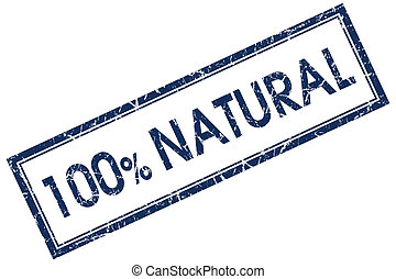 100%, naturale, quadrato blu, francobollo