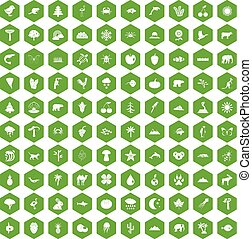 100 nature icons hexagon green