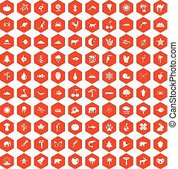 100 nature icons hexagon orange