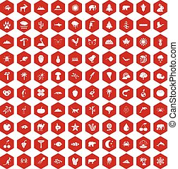 100 nature icons hexagon red