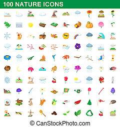 100 nature icons set, cartoon style