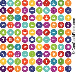 100 nature icons set color