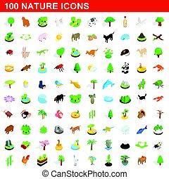 100 nature icons set, isometric 3d style