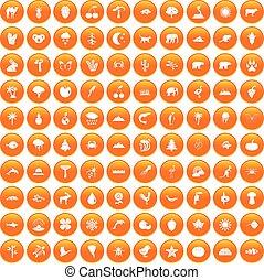 100 nature icons set orange