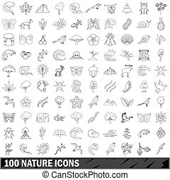 100 nature  icons set, outline style