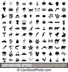 100 nature icons set, simple style
