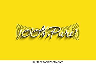 100%, naturel, produit, design., typographie, pur
