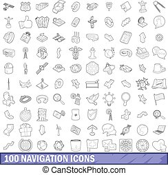 100 navigation icons set, outline style