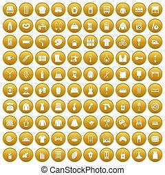 100 needlework icons set gold