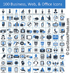 100, negócio, teia, ícones escritório