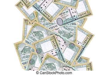100 Nepalese rupees bills flying down isolated on white. Many banknotes falling with white copy space on left and right side