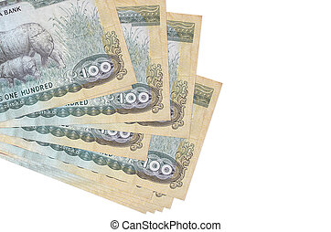 100 Nepalese rupees bills lies in small bunch or pack isolated on white. Mockup with copy space. Business and currency exchange concept