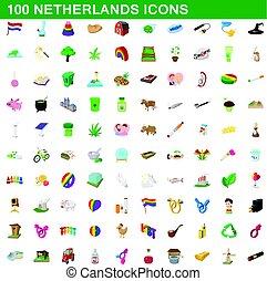 100 netherlands icons set, cartoon style