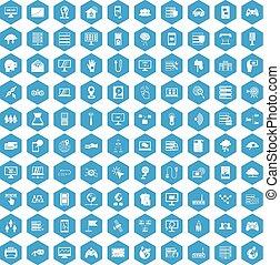 100 network icons set blue