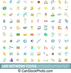 100 network icons set, cartoon style