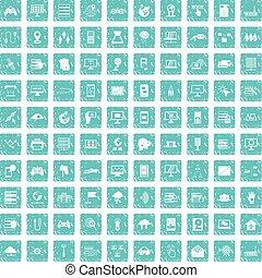100 network icons set grunge blue
