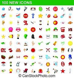 100 new icons set, cartoon style