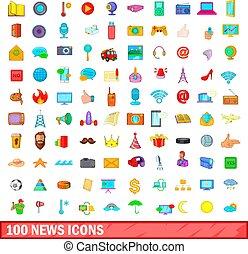 100 news icons set, cartoon style