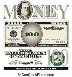 100, note, dollar, éléments